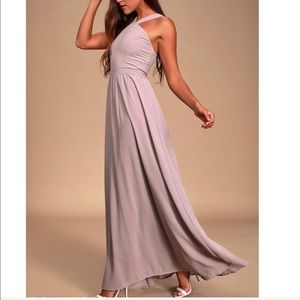 NWOT Lulu's Air Of Romance Taupe Maxi Dress